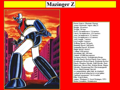 Mazinger Z Data